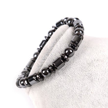 Load image into Gallery viewer, Weight Loss Round Black Stone Magnetic Therapy Bracelet Health Care Magnetic Hematite Stretch Ring For Men Women
