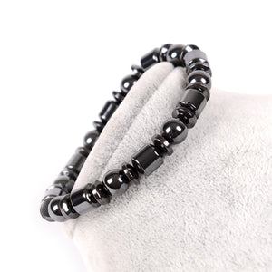 Weight Loss Round Black Stone Magnetic Therapy Bracelet Health Care Magnetic Hematite Stretch Ring For Men Women