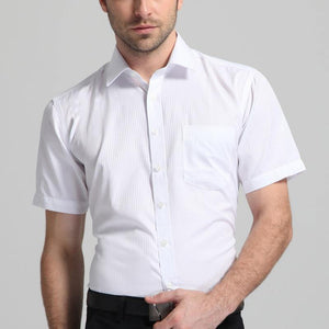 Men's Regular-fit Short Sleeve Solid/Twill/Striped Shirt Patch Left Chest Pocket Formal Business Work Office Basic Dress Shirt