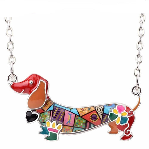 Maxi Pet Dachshund Dog Choker Necklace Alloy Pendant Chain Collar New Animal Jewelry