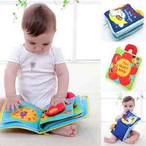 12 pages Soft Cloth Baby Boys Girls Books Rustle Sound Infant Educational Stroller Rattle Toys For Newborn Baby 0-12 month - moonaro
