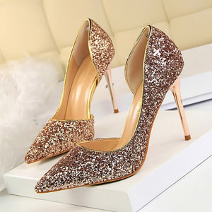 Women Pumps Extrem Sexy High Heels Women Shoes Thin Heels Female Shoes Wedding Shoes Gold Sliver White Ladies Shoes