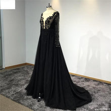 Load image into Gallery viewer, Surmount Customized Scoop Neck Black Lace Evening Dress Full Sleeves A-line Hand Sewing Crystals Evening Dresses robe de soiree