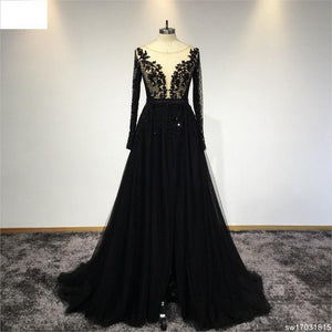 Surmount Customized Scoop Neck Black Lace Evening Dress Full Sleeves A-line Hand Sewing Crystals Evening Dresses robe de soiree