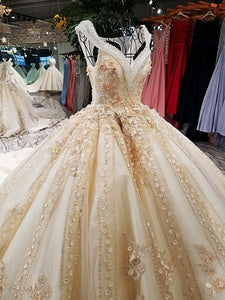 Luxury wedding dress V-neck ball gown lace up back champagne elegant bridal wedding gowns with long train