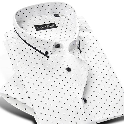 Men's Short Sleeve Polka Dot/Triangle Printed Dress Shirt Smart Casual Slim-fit Contrast Color Patchwork Tops Button-down Shirts