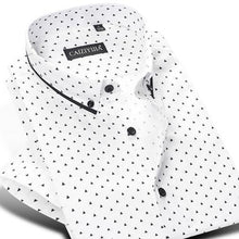 Load image into Gallery viewer, Men's Short Sleeve Polka Dot/Triangle Printed Dress Shirt Smart Casual Slim-fit Contrast Color Patchwork Tops Button-down Shirts