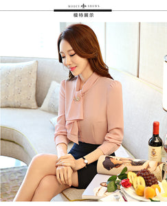 long sleeve women slim shirt white pink solid color elegant ruffles chiffon blouse office ladies formal plus size tops