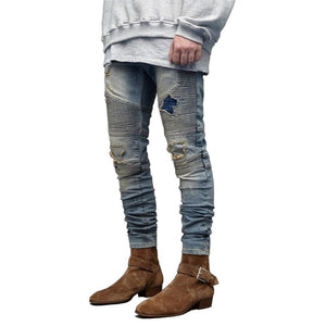 Men's Ripped Biker Jeans Skinny Motorcycle Destroyed Distressed Pencil Jeans