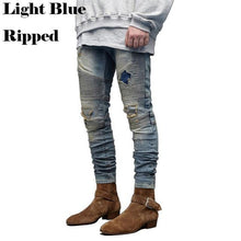 Load image into Gallery viewer, Men's Ripped Biker Jeans Skinny Motorcycle Destroyed Distressed Pencil Jeans