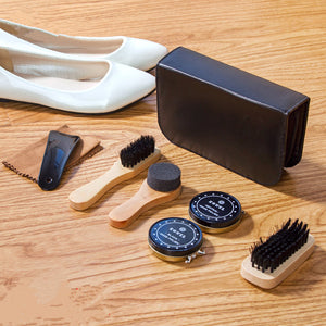 7pcs / set Professional Shoe Care Tool with pu Leather Long Wood Handle Shoe Brushes Shoe Polish Sponge Wipers Cleaning Cloth - moonaro