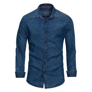 Men Clothes Printed Denim Shirt Men Long Sleeve Casual Fashion Plaid Shirts Vintage Style 100% Cotton - moonaro