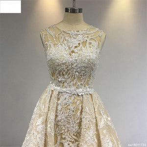 Surmount Champagne Lace Beading Wedding Gown  Detachable Train Luxury Bling Bling A-line Vintage Royal Train Wedding Dress