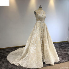 Load image into Gallery viewer, Surmount Champagne Lace Beading Wedding Gown  Detachable Train Luxury Bling Bling A-line Vintage Royal Train Wedding Dress