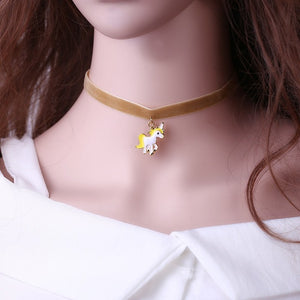 Necklace For Girls Children Kids Enamel Cartoon jewelry Women Animal Lace Choker Necklace Pendant Party