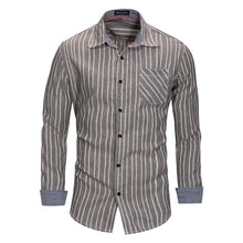 Load image into Gallery viewer, New Fashion Printed Striped Shirt Men 100% Cotton Dress Shirt Long Sleeve Casual Social Business Shirt
