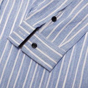 New Fashion Printed Striped Shirt Men 100% Cotton Dress Shirt Long Sleeve Casual Social Business Shirt