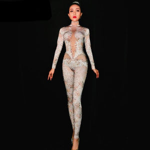 Fashion Rhinestones Jumpsuit Leggings Stretch Sexy Costume Women Nightclub Party Wear Dance Bodysuit Fashion Rompers - moonaro