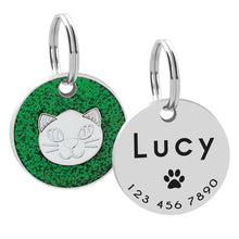 Load image into Gallery viewer, Personalized Cat ID Tag Engraved Cats Name Tags Paw Print Customized Name Plate Dog Cats Kitten Accessories Pink Red Blue