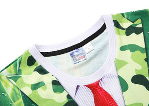 Nice Stylish T-shirt Men/Women Tees Shirts Print Green Leaves Suit Jacket Fake Two Pieces 3d T-shirt Summer Tops