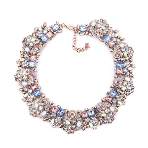 PPG&PGG Luxury Party Jewelry Rhinestone Flower Necklaces For Women Fashion Crystal Charm Choker Statement Collar Necklace