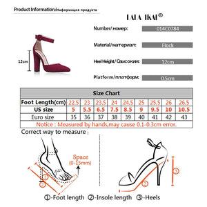 Woman High Heels Wedding Shoes Brand Strap Heels Classic Heeled Sandals 12CM Ladies Red Platform Pumps 014C1734 -35