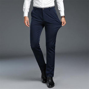 Summer Men's Long Pants Fashion Solid Slim Fit Business Casual Pants