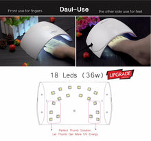 Load image into Gallery viewer, 36W UV LED Nail lamp 18 LEDs Nail dryer for All Gels with 30s/60s Button Perfect Thumb Drying Solution - moonaro