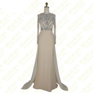Long Sleeves Gown See Through Back Beading Handwork Prom Evening Dresses