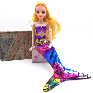 Handmade Dolls Party Dress Gown Skirt Fashion Clothes For Barbie Doll Genuine Mermaid Tail Dress Baby Toy