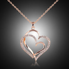 Load image into Gallery viewer, Rose gold color Crystal Double Heart Pendant Luxury Jewelry Love heart Necklaces Valentine's Day Wedding Jewelry