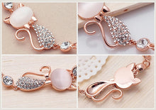 Load image into Gallery viewer, Hot Trendy Jewelry Rose Gold Cute Zircon Cat Bracelets Charms Bracelets Bangle for Women Children Girl DIY Jewelry Gifts