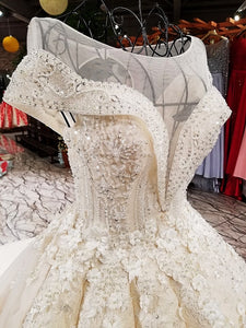 High-end Vintage Embroidery Sequined Sparkly Wedding Dresses Sleeveless Fashion Sexy Tulle Bride Gown