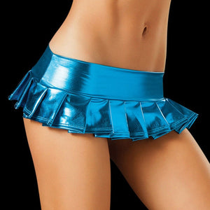Women Hot Sexy Latex Skirts Suit Pole Dance Clubwear Patent Leather Micro Mini Skirts Set Nightclub