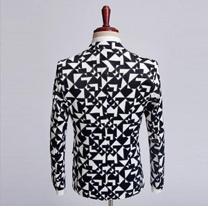 Formal Wear blazer men Black white plaid tuxedos Fashion Style Coat Jacket For men