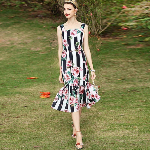 High Quality Long Dress Spring Summer Women'S Party Mermaid Sexy Vintage Elegant Chic Print Dresses