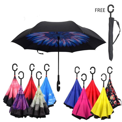 Mardi Gras Dotwork Style Carnival Mask Double Layer Inverted Reverse Windproof Folding Umbrellas for Car Outdoor with C-Shaped Handle 42.5x31.5Inch
