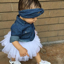 Load image into Gallery viewer, Babies Girl  Clothing Set Baby Girls Denim Shirt Top +Tutu Skirts+Headband 3pcs Outfits Sets - moonaro