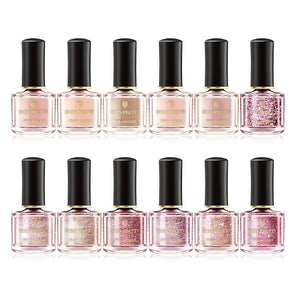Rose Gold Series Nail Polish 6ml Pink Nude Pure Color Varnish Glitter Sequins Nail Art Lacquer