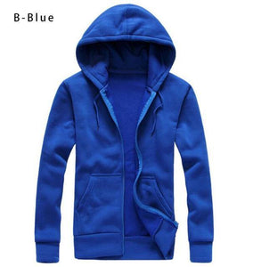 Men's Solid Hooded Sweatshirt Fashion Slim Thin Sportswear Male Tracksuit Cardigan