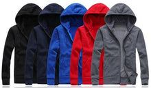Load image into Gallery viewer, Men's Solid Hooded Sweatshirt Fashion Slim Thin Sportswear Male Tracksuit Cardigan