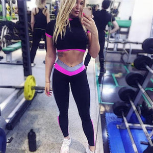 Sexy Two Piece Sport Suit Women Yoga Set Short Sleeve Crop Top and Leggings Sexy Yoga Wear Fitness Track Suit Sportswear