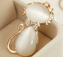 Load image into Gallery viewer, Korean luxury rhinestone opal cute cat  long necklace women sweater accessories wholesale collier femme/neckless/colar/collana
