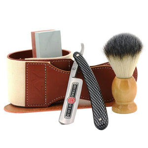 Man Straight Shaving Razor Cut Throat Knife Gold Dollar 208 +Sharpening Stone + Synthetic Shaving Brush+ Sharpener Strop Belt