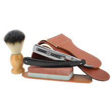 Load image into Gallery viewer, Man Straight Shaving Razor Cut Throat Knife Gold Dollar 208 +Sharpening Stone + Synthetic Shaving Brush+ Sharpener Strop Belt