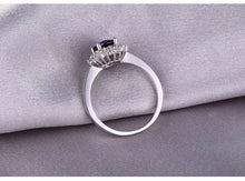 Load image into Gallery viewer, 18KT/750 White Gold 1.14 ct Natural Sapphire y &  0.38 ct Full Cut Diamond Engagement Gemstone Ring Jewelry - moonaro