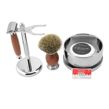 Load image into Gallery viewer, Shaving Set Double Edge Safety Shaving Razor Men Badger Hair Brush Natural Wood Stand Mug Bowl Soap Kit +10 Free Blades