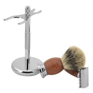 Shaving Set Double Edge Safety Shaving Razor Men Badger Hair Brush Natural Wood Stand Mug Bowl Soap Kit +10 Free Blades