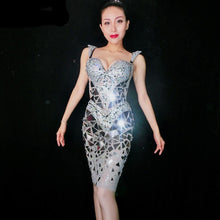 Load image into Gallery viewer, Shining Silver Sequins Rhinestone Dress Women Birthday Bright Sexy Costume Prom Celebrate Bling Mirrors Dresses Evening Outfit