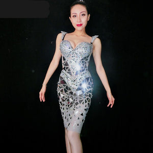 Shining Silver Sequins Rhinestone Dress Women Birthday Bright Sexy Costume Prom Celebrate Bling Mirrors Dresses Evening Outfit